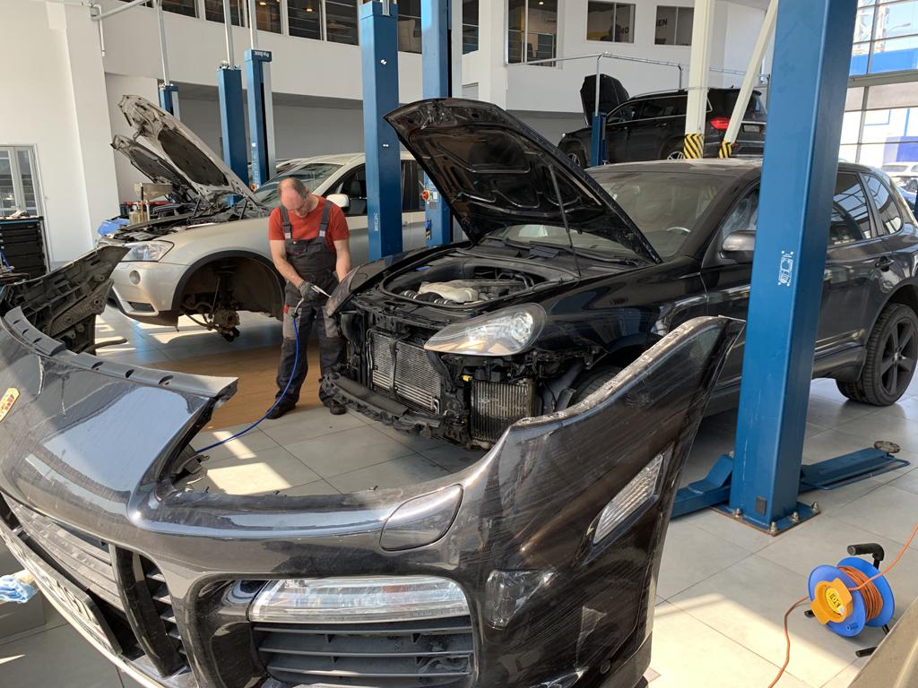 Мойка радиаторов на Cayenne Turbo