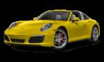 Porsche 911 желтого цвета на белов фоне