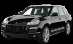 Porsche Cayenne черного цвета на белом фоне